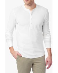 7 For All Mankind | Long Sleeve Henley In White | Lyst