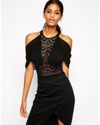 TFNC Body With Lace Insert And Off Shoulder Details black - Lyst