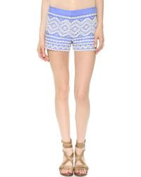 Tory Burch Veronique Shorts Wedge Blueivory - Lyst