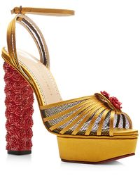 Charlotte Olympia Roslanida Silk-Satin Platform Sandals - Lyst