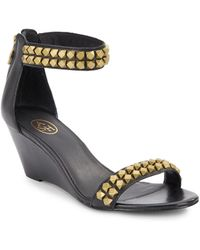 Ash Diamond Studded Leather Wedge Sandals - Lyst