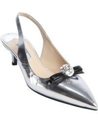 Prada Silver and Black Metallic Leather Slingback Bow Detial Kitten Pumps - Lyst