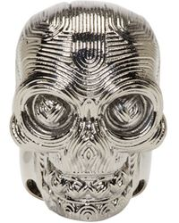Alexander McQueen Silver Etched Diamante Skull Ring silver - Lyst