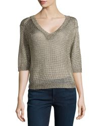 Halston Heritage V-neck Open-mesh Sweater - Lyst