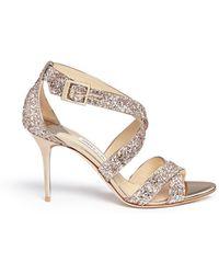 Jimmy Choo | 'louise' Coarse Glitter Crisscross Sandals | Lyst