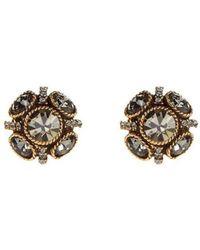 Oscar de la Renta Crystal Button Earrings - Lyst