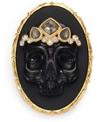 Alexis Bittar Elements Muse D'Ore Black Agate, Pyrite & Crystal Skull Cameo Pin - Lyst