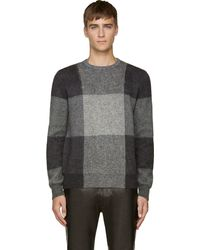 Alexander McQueen Grey Mohair Check Sweater - Lyst