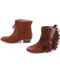 Cynthia Vincent - Nibble Suede Fringe Booties - Lyst