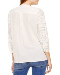 Two By Vince Camuto - Lace And Crinkle Cotton Top - Lyst