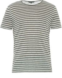 John Varvatos Striped Linen-Knit T-Shirt - Lyst