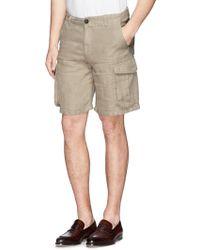 Armani Linen Cargo Shorts - Lyst