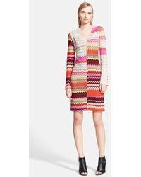 Missoni Long Sleeve Patchwork Wave Stitch Shift Dress - Lyst