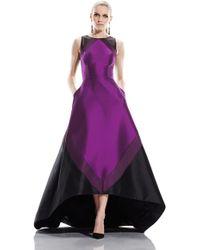 Theia | purple Color Block Hi/low Hem Gown | Lyst