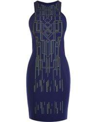 Karen Millen Tribal Print And Embroidery Dress blue - Lyst