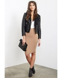 Forever 21 Faux Leather  Faux Shearling Moto Jacket - Lyst