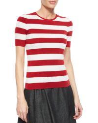 Michael Kors Cashmere-Blend Striped Crewneck Sweater - Lyst