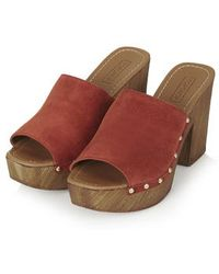 Topshop Lucy Stud Mule Clogs brown - Lyst