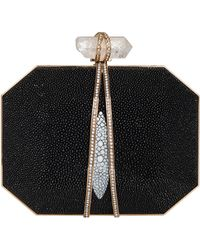 Marchesa Iris Stingray Box Clutch Bag Black - Lyst