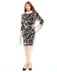 Calvin Klein Three-quarter-sleeve Marble-print Sheath - Lyst
