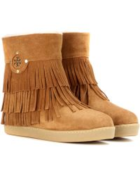 Tory Burch Collins Fringe Suede Boots - Lyst