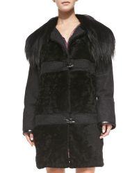 Nanette Lepore Fur-Collar Toggle-Front Coat - Lyst