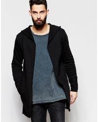 ASOS | Super Longline Hooded Jersey Cardigan In Black | Lyst