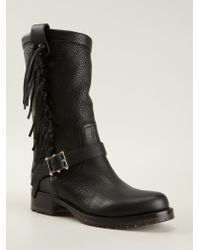 Valentino Fringe Detail Boots - Lyst