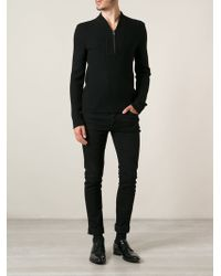 Gucci Zip Ribbed Neck Sweater - Lyst