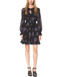 Michael Kors Floral-print Silk-georgette Dress - Lyst