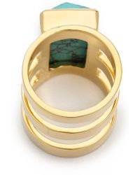 Paige Novick - Isabelle Collection 3 Row Ring with Stone Inset Shiny Goldturq Blue - Lyst