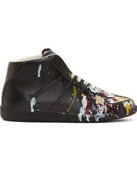 Maison Margiela Black Leather Paint Splatter Replica Sneakers - Lyst