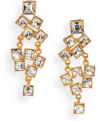 Kenneth Jay Lane Square-Cut Cluster Chandelier Earrings/Clear - Lyst