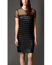 Burberry Embellished Silk Dress With Sheer Detail - Lyst