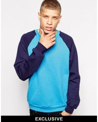 American Apparel Sweatshirt With Contrast Sleeves blue - Lyst