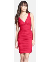 Nicole Miller Ruched Techno Metal Sheath Dress red - Lyst