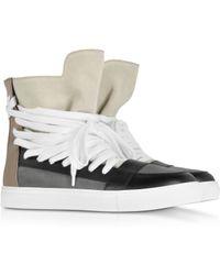 Kris Van Assche - Color Block Suede and Leather High Top Sneaker - Lyst