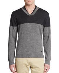 Armani Colorblock V-Neck Sweater - Lyst