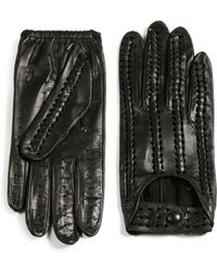 Portolano Stitched Leather Driving Gloves black - Lyst