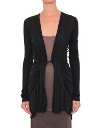 Rick Owens Viscose Jersey Cardigan With Draping - Lyst