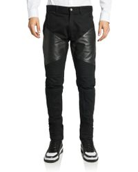 Givenchy Cotton & Leather Moto Jeans - Lyst