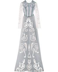 Honor White Pigment Fleur De Lis Gown with Blue Contrast - Lyst