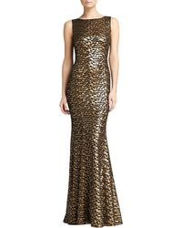 St. John Leopard Spot Embroidered Gown - Lyst