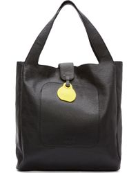 MM6 by Maison Martin Margiela Black Grained Leather Tote Bag - Lyst