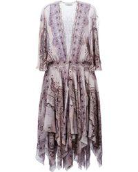 Etro Plunge V-Neck Draped Dress pink - Lyst