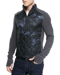 Moncler Diamond Quilted-front Fleece Pullover - Lyst