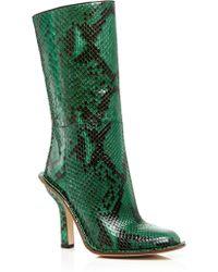 Marni   Green Python Mid Calf Boots   Lyst