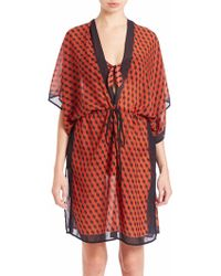 Michael Kors | Deco Hexagon Tie-front Coverup Dress | Lyst