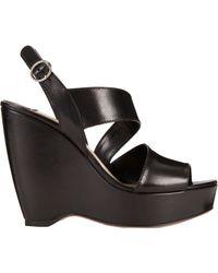 Prada Asymmetric Platform Wedge Sandals - Lyst