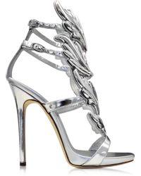 Giuseppe Zanotti Silver Metallic Leather Sandal - Lyst